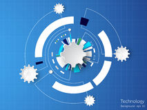 The background image shows the abstract concept of innovation and technology can be applied to your business. Vector abstract background of technological vector illustration