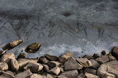 Background image of small boulders and frozen lake royalty free stock image