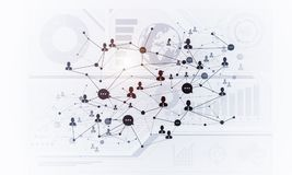Lines and dots as networking idea drawn on white background Stock Image