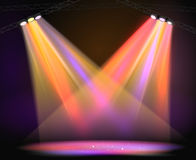 Background image of spotlights with stage in color Royalty Free Stock Images