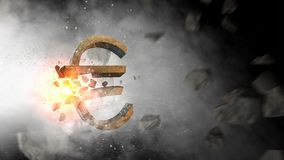 Concept of financial crisis. Mixed media. Background image with stone euro sign. Mixed media Royalty Free Stock Photography