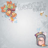 Background image for text with bells, autumn leaves and school backpack Royalty Free Stock Photo