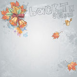 Background image for text with a school bell and autumn leaves Stock Image