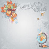Background image for text with a school bell, autumn leaves and globe Royalty Free Stock Photography