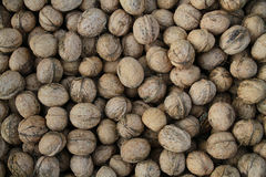 Background image, top view close-up. Autumn harvest of walnut.  Royalty Free Stock Photos