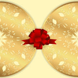 Background image with two circular horizontal ornaments of gold color with a red bow. Stock Photography