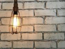 Rustic white Brick Wall, Tugsten bulb glow stock photos