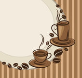 Background with images of coffee cups Royalty Free Stock Photo