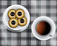 Background including Cup of tea. And cookies and chocolate bars Royalty Free Stock Photo