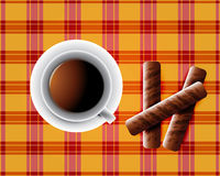 Background including Cup of tea. And cookies and chocolate bars Royalty Free Stock Photos
