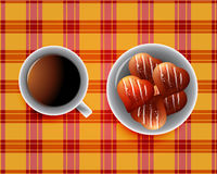 Background including Cup of tea. And cookies and chocolate bars Stock Photography