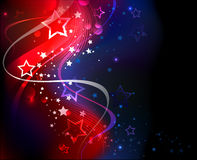 Background on independence day. Abstract glowing blue and red abstract background with stars and flowing ribbons Vector Illustration
