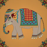 Indian elephant. Background with indian elephant and floral decoration Royalty Free Stock Photo