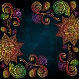 Background with Indian Ornament And Mandala. Indigo Vintage background with Indian Ornament And Mandala Stock Images