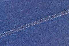 Background of the indigo denim fabric of jeans Stock Photos