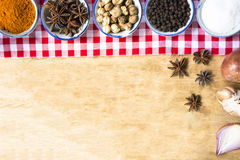 Background ingredient food indian style on wooden table. royalty free stock image