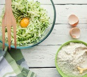 Background with ingredients for cooking zucchini pancakes Stock Photography
