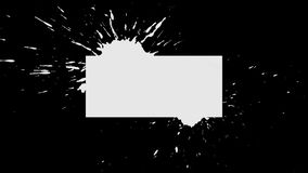 Background Ink Blob Appearance - Rectangle. White ink drips onto a black background and forms a background blot for your text or logo stock illustration
