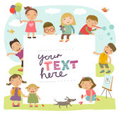 Background for an inscription with cute children playing Royalty Free Stock Images