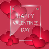 Background with an inscription on the day of lovers. Background with hearts. The glass plate. Happy Valentine`s day. Template for greeting card. Vector red Royalty Free Stock Photo