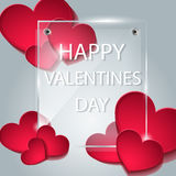 Background with an inscription on the day of lovers. Background with hearts. The glass plate. Happy Valentine`s day. Template for greeting card. Vector red Stock Photos