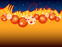 Background with the inscription merry Christmas, separating the starry sky and hanging Christmas balls Stock Image