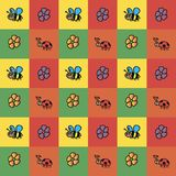 Background of insects. Bees ladybugs flowers collection pattern on colorful square background.  Royalty Free Stock Photos