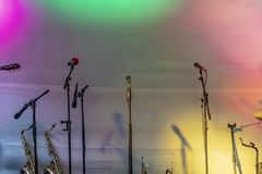 Instruments of blues and jazz band on stage. Background of instruments of blues and jazz band on stage royalty free stock image