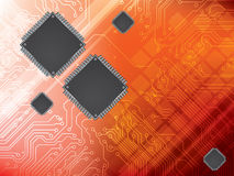 Background with integrated circuit and data proces Stock Photo
