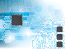 Background with integrated circuit and data proces Stock Images