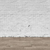 Background interior: brick wall and wood floor Stock Photos
