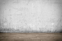Background interior: concrete wall and wood floor Royalty Free Stock Photography