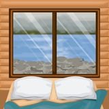 Background interior wooden cabin with bed and blur river with rocks scenary behind window Royalty Free Stock Images