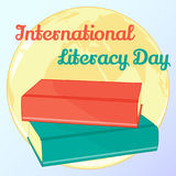 Background for International Literacy Day. Vector illustration for you design, card, banner, sticker, poster, calendar Royalty Free Stock Image