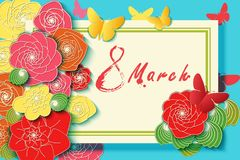 Background for the International Womens Day. Flyer for March 8 with decor of spring plants, leaves and flowers. Invitations with i. Nscription of watercolor Stock Photography