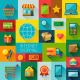 Background with internet shopping icons in flat Royalty Free Stock Photography