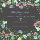 Background, invitation card, template postcard with the yellow wildflowers, clover flowers and grass Stock Photos