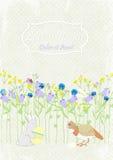 Background invitation rabbit with egg, bird and flowers. vector invitation. Background invitation rabbit with egg, bird and flowers Royalty Free Stock Photo
