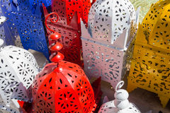 Background iron lamps arabic style draft of pretty colors Stock Image