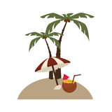 Background island with palms and cocktail coco and umbrella Royalty Free Stock Image