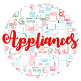Background with household appliances icons. Various electronics vector icons. Royalty Free Stock Photos