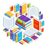 Background with isometric books. Education or bookstore illustration in flat design style Stock Images