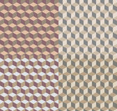 Background with isometric cubes patterns. Set of seamless patterns with isometric cubes. Abstract geometry background vector illustration