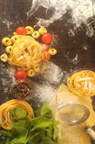 Background italian restaurant fresh pasta and ingredients Stock Photos