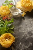 Background italian restaurant fresh pasta and ingredients Royalty Free Stock Photography
