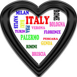 Background. Italy in the Europe and Italy's cities as background, with form of the heart Stock Photography