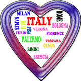 Background. Italy in the Europe and Italy's cities as background, with form of the heart Stock Images