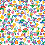 Background with Japanese flowers and swirl. Royalty Free Stock Photo