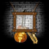 Background jazz music guitar saxophone brick wall Royalty Free Stock Photo