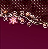 Background of jewelry and precious stones with flower stock illustration